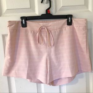Light pink and white striped shorts